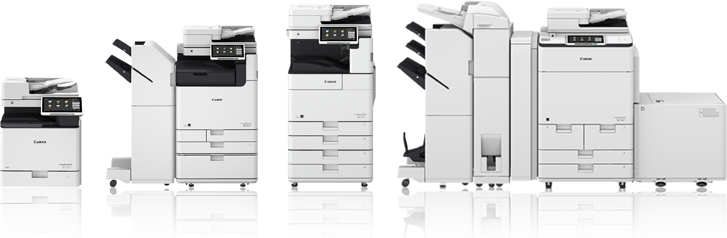 A selection of MFP copiers and printers