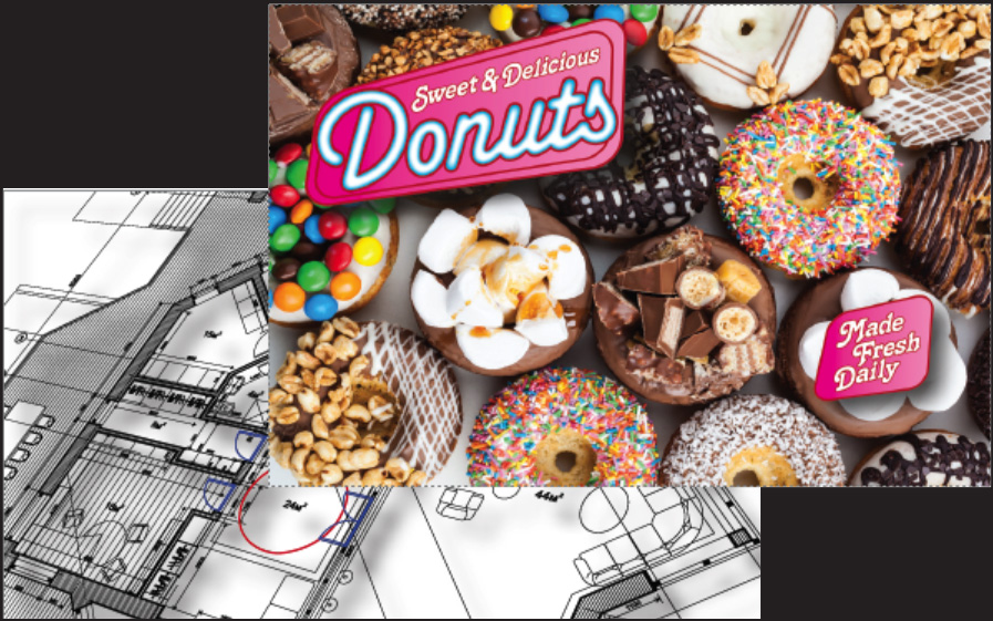 A photo of a colorful print of donuts