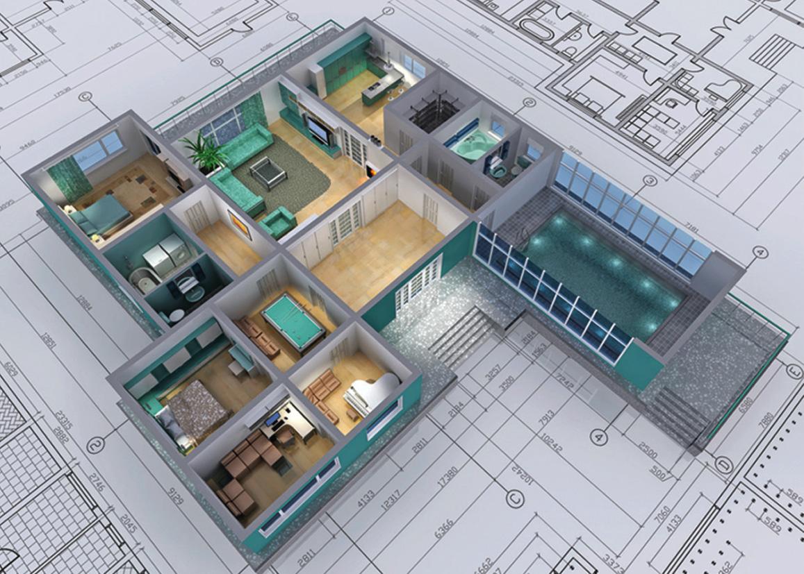 An image of a 3d building blueprint